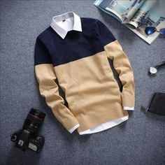 Men's Sweaters Pullover Blouse Casual is part of Men sweater - Buy from us Men's Sweaters Pullover Blouse Casual Get a discount for the entire collection Men's Sweaters Buy more and save off the total order wi Mens Fashion Sweaters, Sweater Fashion, Uni Fashion, Fashion Fall, Simple Outfits, Casual Outfits, Sweater Shirt, Mens Sweatshirts, Men's Sweaters