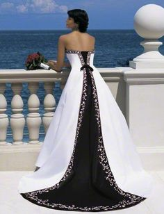 White with black train wedding gown