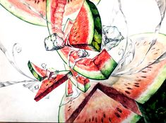 Watermelon, Fruit, Drawings, Artwork, Pattern, Painting, Design, Fruits And Vegetables, Drawing Ideas