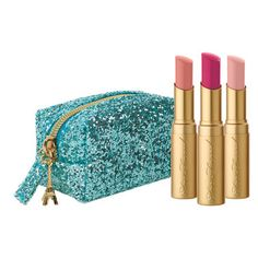 Too Faced A trio of limited-edition shimmering lipstick versions of the original La Creme Lip Creams. Encased in a sparkling pastel blue make-up case.