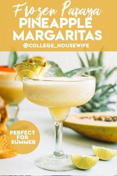 Frozen Margaritas, Frozen Cocktails, Cocktail Drinks, Cocktail Recipes, Refreshing Drinks, Summer Drinks, Fun Drinks, Beverages, Pineapple Margarita