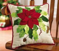 Poinsettia Bouquet Holiday Throw Pillow from Collections Etc. Christmas Cushions, Christmas Pillow, Felt Christmas, Christmas Ornaments, Christmas Makes, All Things Christmas, Christmas Projects, Holiday Crafts, Felt Pillow