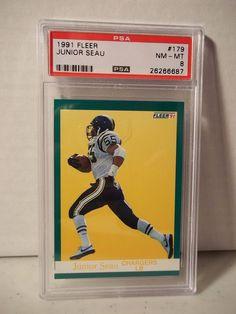 1991 Fleer Junior Seau PSA NM-MT 8 Football Card #179 NFL Collectible #SanDiegoChargers