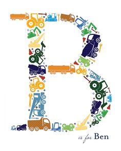 Custom+Construction+Zone+/+Trucks+Monogram+by+TeacupOfBlessings,+$15.00