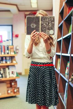 polka dotted skirts and libraries..what more does a girl need??