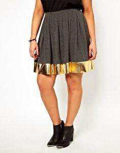 ASOS CURVE Skater Skirt with Metallic Hem
