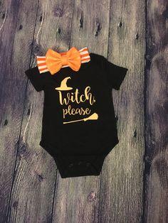 Witch, Please Baby Girl Halloween Onesie and Matching Bow, Halloween Baby Girl… Halloween Onesie, Baby Girl Halloween, First Halloween, Halloween Outfits, Cute Babies, Baby Kids, Hallowen Ideas, Baby Girl Fashion, Kids Fashion