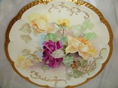 Haviland - Limoges - Charger - Plate - Tray - Hand Painted - Roses - Signed - Circa 1896