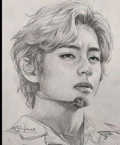 Art Drawings Beautiful, Art Drawings Sketches Simple, Pencil Sketches Of Faces, Kpop Drawings, Anime Girl Drawings, Realistic Sketch, Taehyung Fanart, M Anime, Face Sketch