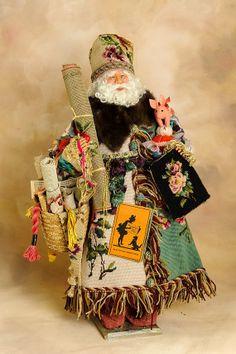 Needlepoint Santa  Santa Claus Doll  Christmas by manymonkeys, $1895.00