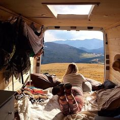 """We've been on the road for more than a 100 days now, and lazy afternoons like these will never get old""  @supervan_adventures in a Rocky Mountain National Park, Colorado // Pro Tip: check out the cargo nets they use for side wall storage in their Sprinter Camper Van.  #spintercampervans  Regram via @sprintercampervans"