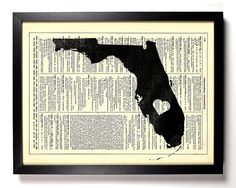 Florida State Dictionary Book Print Upcycled Book by StayGoldMedia, $6.99
