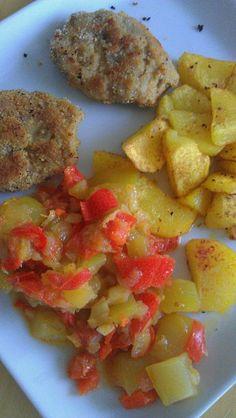 Beim veganen Keks gab es abends Sojamedallions mit Paprikagemüse und Bratkartoffeln
