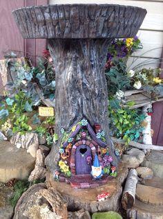 Fairy or Gnome Door Tree Stump BirdBath  by EnchantdMushroomLand
