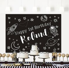 SALE Space Birthday Backdrop