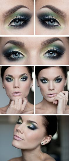 "Linda Hallberg makeup look ""A Year Ago"" - smokey blue, green and yellow eyes and glossy nude lips."