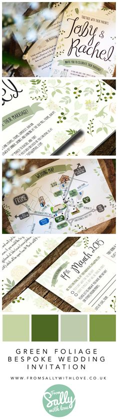 Bespoke, relaxed, foliage inspired wedding invitations including main invite, more info, wedding map and RSVP. http://www.fromsallywithlove.co.uk #wedding #invitations #invites #foliage #green #berries #UK #somerset #earthy #relaxed #fun #dinosaur #leaves #map #RSVP #custom #bespoke #unique #professional #designer #personalised #custom #expert