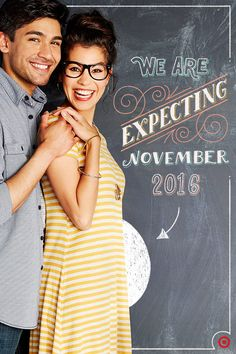 Share your exciting news in a fun, unique way — chalk! From simple to elaborate, creating a chalkboard announcement is a personal way to let friends and family know you're expecting! To replicate the announcement shown, just write the due date, an arrow pointing to a chalkboard baby belly, snap a pic and share! Easy!