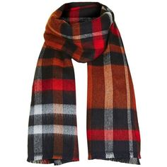 Women's Topshop Check Scarf (51 CAD) ❤ liked on Polyvore featuring accessories, scarves, navy blue multi, fringe scarves, woven scarves, navy blue scarves, navy blue shawl and checkered scarves