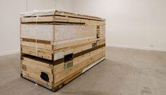 "Finbar Ward - ""Lid Painting"", 2015 Medium: Oil, gloss, linen, canvas, wood, concrete, paper, nails, and staples Size: 170 x 107 x 79 cm"