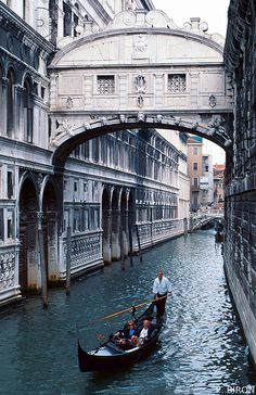Bridge of Sighs, Venice, Italy {local legend says that lovers will be granted eternal love and bliss if they kiss on a gondola at sunset under the Bridge of Sighs as the bells of St Mark's Campanile toll}