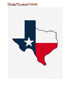 INSTANT DOWNLOAD Texas Shaped Flag Star Afghan by chellacrochet