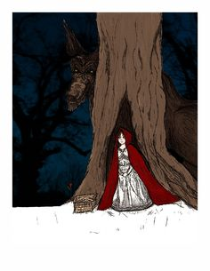 Big Bad Wolf - a fairy tale inspired print  by HouseofTenderBeasts