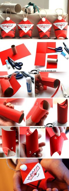 Bastelideen mit Klopapierrollen für Weihnachten - auch ganz einfach mit Kindern *** Toilet Paper Roll Santas | Click for 25 DIY Christmas Crafts for Kids to Make | DIY Christmas Decorations for Kids to Make