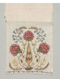 Turkey, 18th century, embroidery: silk and silver filé on linen tabby ground, Average: 200 x 26.2 cm (78 11/16 x 10 5/16 in.). Harold North Fowler Collection 1956.679