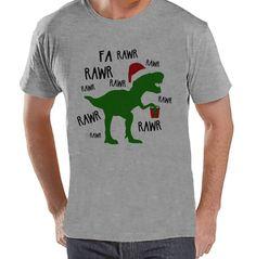 Dinosaur Christmas Shirt - Winter Christmas Tee - Men's Christmas T-Shirt - Men's Grey T Shirt - Dino T Rex Holiday Shirt - Christmas T Rex