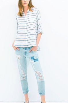 STRIPED ROLLED-CUFFS ASYMMETRIC SHIRT