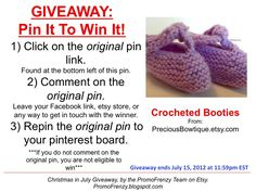 GIVEAWAY - Pin It To Win It: To Win This Item from PreciousBowtique.etsy.com - follow the instructions: Click on ORIGINAL pin, comment leaving a way to contact you, REPIN the ORIGINAL Pin! Contest ends 7/15/12 @ 11:59pm EST. Winner announced 7/16/12.
