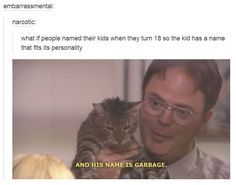 A master of naming pets. 33 Dwight Schrute Jokes That Still Make You Laugh Every Time My Tumblr, Tumblr Posts, Tumblr Funny, Funny Quotes, Funny Memes, Jokes, Weird Quotes, Stupid Memes, Dankest Memes