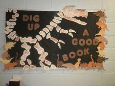 Summer Reading dig up a good book display T Rex dinosaur bulletin board Dinosaur Bulletin Boards, Dinosaur Classroom, Reading Bulletin Boards, Preschool Bulletin Boards, Bulletin Board Display, Bullentin Boards, Display Boards, School Library Displays, Classroom Displays