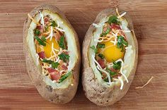 Idaho Sunrise Breakfast Recipe Loaded baked potato is going to get shelved here soon. Idaho Sunrise Recipe is a loaded potato with eggs inside. The Potato will be baked twice. First to be able to hollow it out. This will make it easier to fill with the seasonings, bacon and egg. The dish is then … Continue reading »