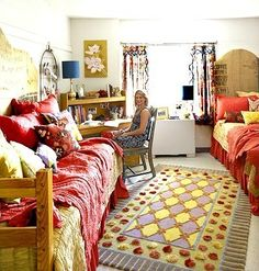 @Sophia Conti - love the ideas for decorating this dorm room- hide the floor, layer linens, and decorate with accessories- this room layout is almost exactly like yours.