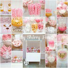 Carrinho Candy Buffet Rosa, Dourado e Branco