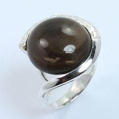 Unique Style Ring Size US 6.25 Real SMOKY QUARTZ Gemstone 925 Sterling Silver #SunriseJewellers #Fashion