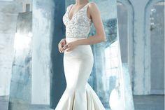 Existen diferentes tipos de blancos para el vestido de novia. Este es un ejemplo de vestido de novia aperlado o diamante #bodas #elblogdemaríajosé #vestidonovia