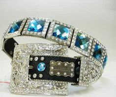 belts with bling for women | Blue Rhinestone Belt, wl-48, Rhinestone Belts & Western Belts, Women ...