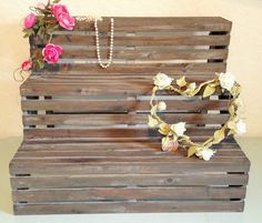 Rustic Wooden Folding Display Step Wood Shop Stall Unit Shabby Chic Shelf Stand