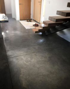 70 Smooth Concrete Floor Ideas for Interior Home - Fußböden Concrete Kitchen Floor, Painted Concrete Floors, Concrete Slab, Stained Concrete, Concrete Countertops, Kitchen Flooring, Basement Concrete Floor Paint, Concrete Floors In House, Finished Concrete Floors