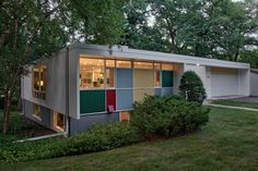 The multicolored panels are a Ralph Rapson trademark on the exterior of the 1957 Shepherd House, an example of Midcentury Modernism in the University Grove neighborhood.