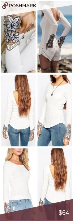 """Free People Embroidered Thermal New with tags Free People """"Bali babe cuff"""" thermal top. Color is """"ivory"""" (ivory thermal with taupe embroidered sleeve hems). Measurements: 29.5"""" Sleeve, 34"""" Bust, 28"""" Length Free People Tops"""