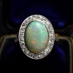Edwardian era Opal & Diamond Halo Cluster Ring