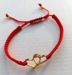 Macrame bracelet, Gold Twin Hearts Bracelet, Handmade, Greek Jewelry, Cuff Bracelet Gold, Made in Greece, Anniversary Gifts for Her, Gold #bracelet #macrame #red #heart #gold #jewelry #anniversary #handmade