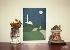 Road to Mosque Starry Night  Islamic Poster by FitrahStudio