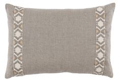 This handmade linen lumbar pillow is a warm gray that can be put in almost anyroom. This is my go to color to bring warmth to rooms with lots of cool grays. This pillow is accented with geometric tape