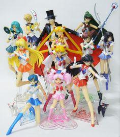 'Complete Senshi' by Fenrir (sailor_moon sailor_uranus sailor_neptune sailor_mars artemis luna bandai sailor_venus sailor_pluto sailor_mercury s.h.figuarts sailor_jupiter tuxedo_kamen bishoujo_senshi_sailor_moon toei_animation takeuchi_naoko super_sailor_moon sailor_chibimoon sailor_saturn bishoujo_senshi_sailor_moon_s) Sailor Neptune, Sailor Uranus, Sailor Mars, Sailor Moon Toys, Sailor Chibi Moon, Sailor Moon Super S, Fairy Figurines, Anime Figurines, Sailor Moon Collectibles