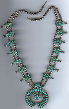 VINTAGE ZUNI INDIAN STERLING SILVER TURQUOISE SQUASH BLOSSOM NAJA NECKLACE
